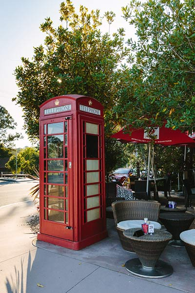 The icon landmark to find the Flying Nun Cafe at Samford - the red phone box.